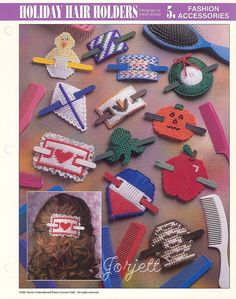 Found this pattern 4-sale on e-bay. I designed these back in 1995 and sold the patterns to Annie's Attic Holiday Hair Holders, Annie's plastic canvas patterns #AnniesAttic