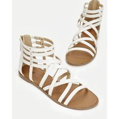 Justfab Flat Sandals Elga ($40) ❤ liked on Polyvore featuring shoes, sandals, white, platform sandals, flat platform sandals, roman sandals, summer sandals and white flat shoes
