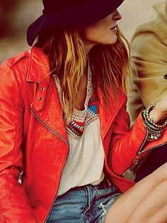 Free People Lady in Red Motorcycle Jacket