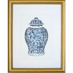 This fine art print is of blue & white antique Chinoiserie porcelain ginger jar with a flying phoenix swooping across floral branch background. This is great print that looks sophisticated without the