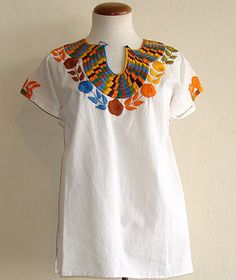 Embroidered Collar Mexican Blouse