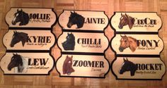 A barn full of beauties, custom stall signs for each horse
