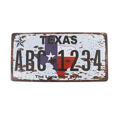6x12 Inches Vintage Feel Rustic Homebathroom and Bar Wall Decor Car Vehicle License Plate Souvenir Metal Tin Sign Plaque TEXAS THE LONE STAR STATE ** Read more  at the image link.