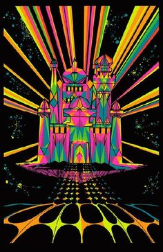 High quality reprinted psychedelic art print poster titled House of Stone from 11 x 17 high quality reproduction on card stock. Psychedelic Art, Drawn Art, Black Light Posters, Psy Art, Hippie Art, Arte Pop, Light Painting, Light Art, Trippy