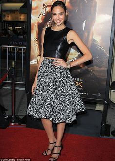 leather crop top, full skirt combo