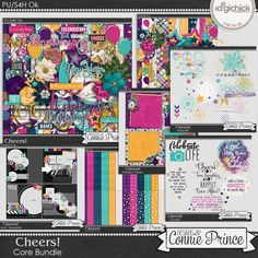 Cheers! - Core Bundle by Connie Prince. Includes 7 full-size products including the kit, borders, inked bits, predeco papers, quoted pack, extra papers, & 12x12 templates. Fully revealed in the additional images on the product page. Scrap for hire / others ok.
