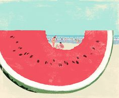 Christmas in summer (by Tatsuro Kiuchi)    The image used for a Brazilian magazine, piaui December issue. I added a sandy snowman to my watermelon piece. Christmas in summer!