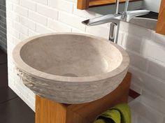 Puket Beige Bathco umywalka kamienna 45cm nablatowa - 00318  http://www.hansloren.pl/Umywalki-kamienne/598