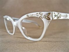 cute white cat eye glasses with rhinestones. ornate by holdenism