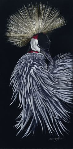 "Sally Maxwell ""her majesty"" scratchboard art"