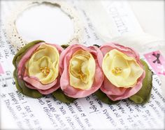 Pastel triplet flower barrette hair clip  Chiffon by sophinegiam, $10.00