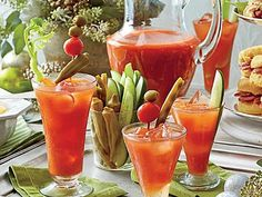 Bloody Mary Bar - Festive Drinks for Christmas Brunch - Southernliving. Recipe: Bloody Mary Bar Give just the right amount of kick to your holiday brunch with these perfectly seasoned cocktails. Bloody Mary Bar, Brunch Recipes, Cocktail Recipes, Cocktails, Drink Recipes, Party Recipes, Fun Drinks, Yummy Drinks, Beverages