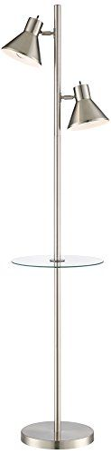 Luken Brushed Nickel 2Light Tree Floor Lamp with Table -- Details on product can be viewed by clicking the image