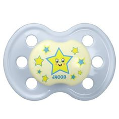 #Baby #Boy  #Personalized #Pacifier #zazzle #babygifts #cute #jamiecreates1 #star #blue #soother #babyshower