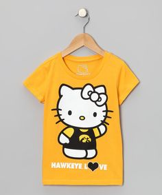 Take a look at this Yellow Iowa 'Hawkeye Love' Hello Kitty Tee - Girls by OPL on #zulily today!