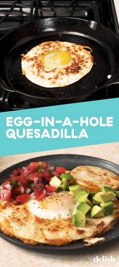 Egg-In-A-Hole Quesadillas Are The Best Thing Since Sliced BreadDelish Egg Recipes, Mexican Food Recipes, Dinner Recipes, Cooking Recipes, Healthy Recipes, Healthy Food, Recipies, Breakfast Items, Breakfast Recipes