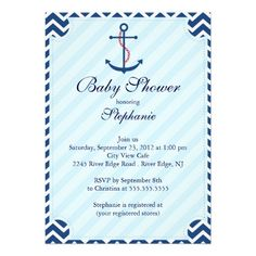 nautical baby shower invites | Modern Nautical Anchor Baby Shower Invitation