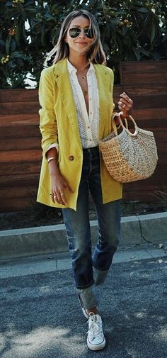 casual style obsession yellow blazer bag converse top jeans