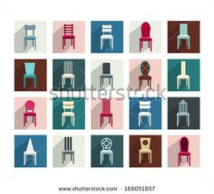 Collection of various chairs. Modern flat pictogram set.  - stock vector