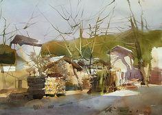 平龙 / Ping Long (b. 1964, China) sketch. 2009 watercolor .54 × 73 cm.