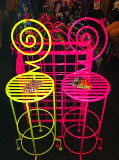 Fluro Pink Wrought Iron chair and Wine Rack that have been professionally powdercoated and available to purchase