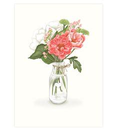 Peonies Art Print – Studio Sue Peonies, Glass Vase, Art Prints, Studio, Paper, How To Make, Gifts, Art Impressions, Presents