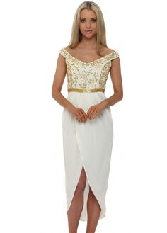 Ivory Virgos Lounge Juliana Dress in ivory with gold beaded off the shoulder bodice and draped wrap skirt perfect short evening dress Virgos Lounge, Designer Party Dresses, Draped Skirt, Evening Dresses, Formal Dresses, Gold Sequins, Stunning Dresses, Chiffon, Ivory
