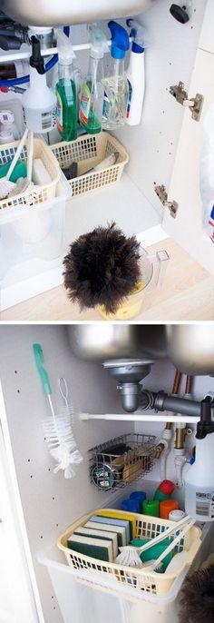 Tension Rod Storage for Spray Bottles   Easy Storage Ideas for the Kitchen