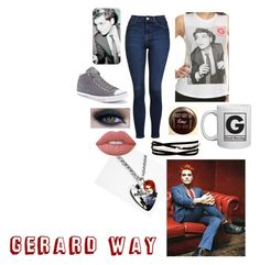 """""""Gerard Way outfit"""" by shiitgurl on Polyvore featuring Topshop, Converse, Kenneth Jay Lane, Lime Crime and Too Faced Cosmetics"""