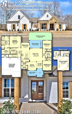 Architectural Designs Craftsman House Plan client-built in Mississippi by our friends at Pintail Construction! Craftsman House Plans, New House Plans, House Floor Plans, 2200 Sq Ft House Plans, Modern Farmhouse Plans, Farmhouse Style, Sims House, Story House, House Goals