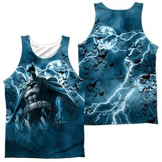 BATMAN/STORMY KNIGHT - ADULT 100% POLY TANK TOP - WHITE -