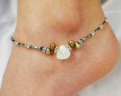 Anklet Ankle Bracelet Ivory Mother Of Pearl by ABeadApartJewelry, $14.00
