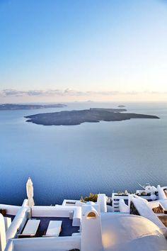 #JSVolcano Santorini, Greece  A view from Dreams Luxury Suites | Imerovigli, Santorini #Jetsetter Pin Your Way to Paradise