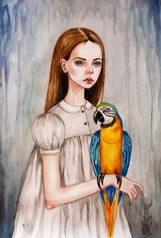Girl and parrot by BlackFurya Anime Art, Colorful Drawings, Art Dolls, Girls Cartoon Art, Ilustration Art, Art, Life Art, Cute Drawings, Watercolor Artwork