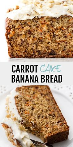 This One Bowl Carrot Cake Banana Bread is made without butter or oil, but so tender and flavourful that you'd never be able to tell! It's secretly healthy but the cream cheese frosting makes it feel extra decadent. # One Bowl Carrot Cake Banana Bread Banana Carrot Bread, Healthy Banana Bread, Healthy Cake, Banana Bread With Glaze, Applesauce Banana Bread, Zucchini Carrot Cakes, Banana Bread Almond Flour, Apple Pie Bread, Carrot Cake Bars