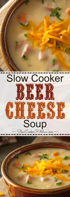 This slow cooker beer cheese soup is absolutely delicious! There are slow cooker, stove top and freezer prep directions too! https://www.slowcookerkitchen.com/slow-cooker-beer-cheese-soup/