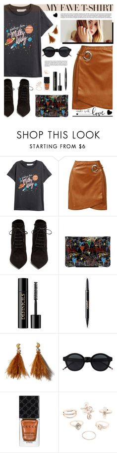 """""""Fave T-shirt"""" by tamara-p ❤ liked on Polyvore featuring Sans Souci, Yves Saint Laurent, Lancôme, Lizzie Fortunato, Gucci, Charlotte Russe and MyFaveTshirt"""