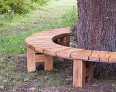 Items similar to Curved Bench/ Oak Tree Seat/ Garden Furniture/ Garden Bench/ Rustic Furntiure on Etsy