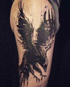 Raven forearm tattoo —> I love the style! Just the small splatters of ink and and the lines