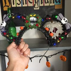Nightmare Before Christmas inspired Mickey ears IG @thesorcererscraftshop
