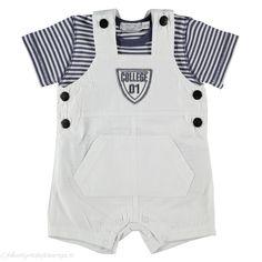 Zoekt u een zomers setje van Dirkje? Koop bij ons dit setje College met een wit overall met korte pijpjes en een gestreept t-shirtje.
