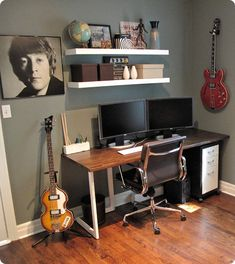 Ideas for my music room, but it will not be boring grey/blue, it will be bright and have different pictures.