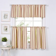 Updated Ticking Window Curtain Tier Pairs And Valances
