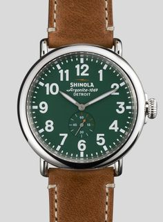 brown leather and green colored face watch for him