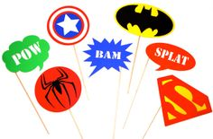 Super Hero Photo Booth Props  Set of 7 Props  by TheManicMoose, $34.00