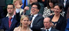 This Saturday night on Comedy Central (UK): Repeat transmission of Michael McIntyre's Christmas Comedy Roadshow, with appearance by Miranda Hart. (In this photo, Michael McIntyre & Miranda at Wimbledon last summer.)