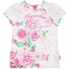 Pampolina Girls White Floral & Diamante Gem T-Shirt at Childrensalon.com