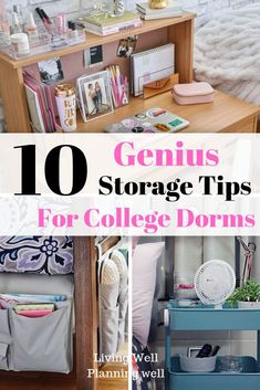 10 Top Secret College Dorm Room Storage Ideas Looking for genius college dorm room storage tips and solutions to organize your college dorm room? Read this post to discover 10 genius college dorm room storage ideas. College Dorm Checklist, College Dorm Essentials, College Tips, College Packing, Apartment Essentials, College Humor, College Dorm Gifts, College Dorm Rooms, College Closet