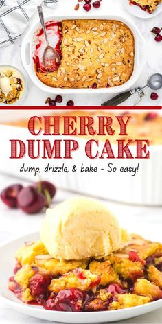 Dump, drizzle, bake and serve - it's THAT EASY! This classic and convenient recipe only requires 4 pantry items - pie filling, cake mix, almond flavoring, and butter. Layered quickly in a baking dish, it can be in the oven baking in just a few minutes. And did I mention? - It's lip-smacking DELICIOUS!!! Apple Dump Cakes, Dump Cake Recipes, Dessert Recipes, Easy Recipes, Just Desserts, Delicious Desserts, Canning Cherry Pie Filling, Canned Cherries, Classic Desserts