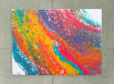 Falling Rainbows Original Abstract Colourful Fluid Painting by Louise Mead